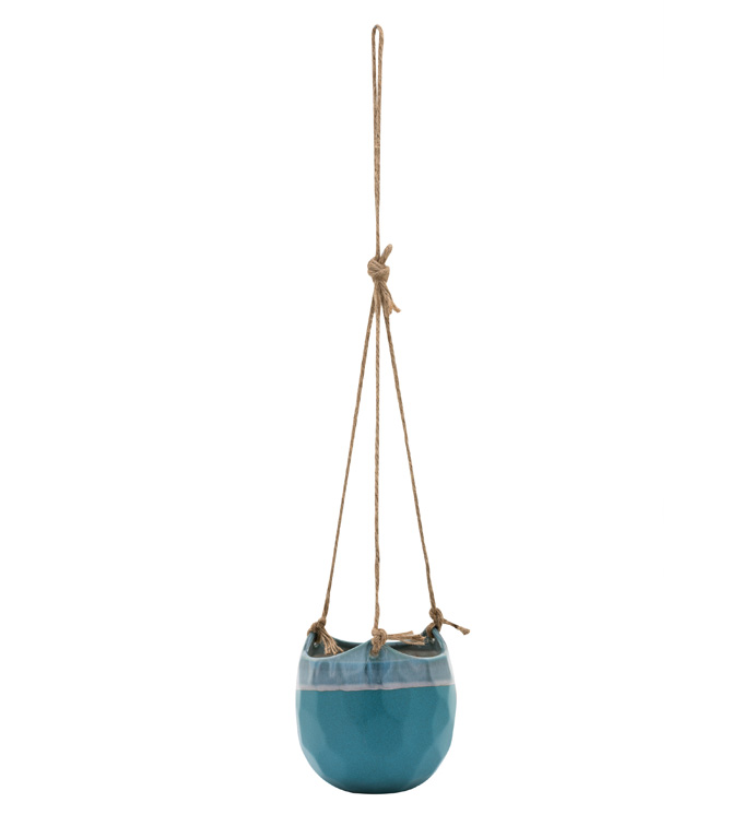 Hanging Blue Glaze Planter