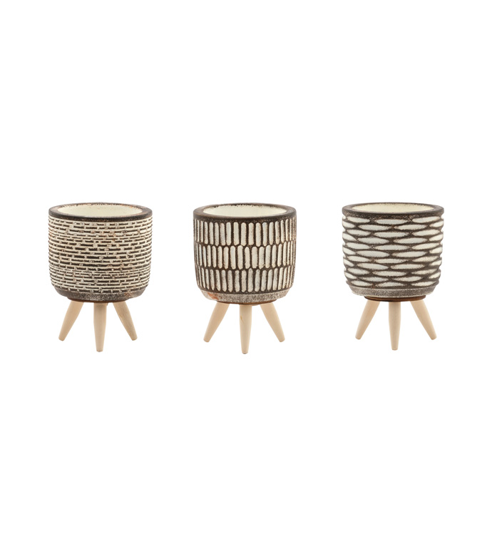 Mini Embossed Planter with Feet