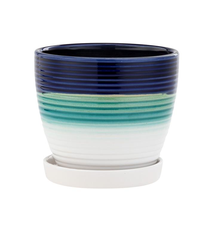 Large Tri Color Ribbed Pot w/Saucer