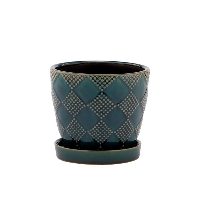 """4.5"""" Emerald Pot w/Saucer"""