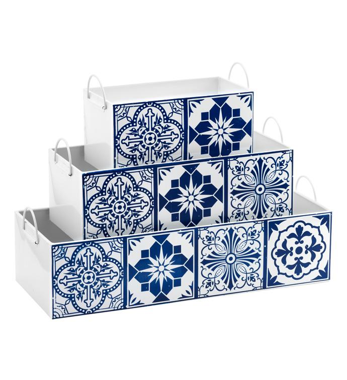 Blue Tile Rectangle Planter, Set of