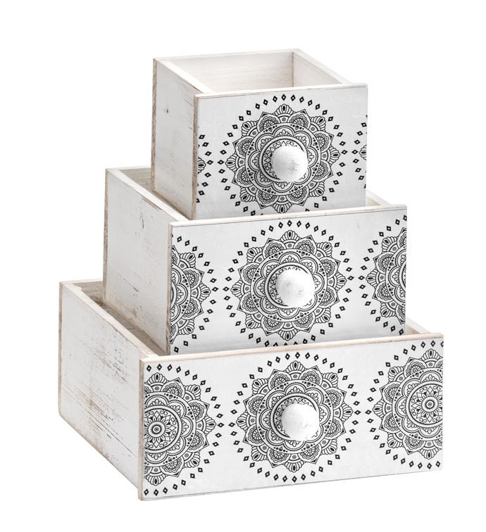 Drawer w/Mandala, Set of 3