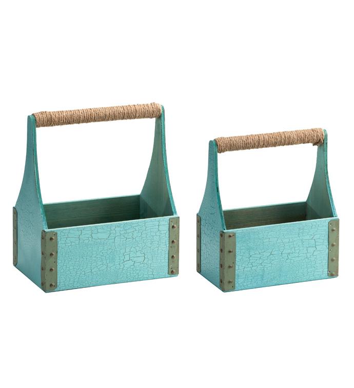 Blue Handle Box Planter, Set of 2