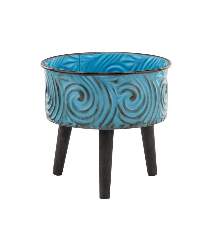 Blue Swirl Tripod Plant Stand