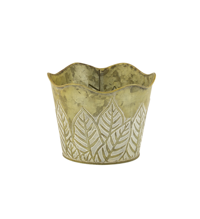 "5"" Green Embossed Leaf Pot Cover"