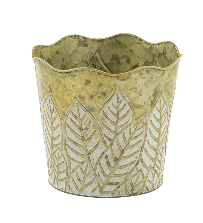 "6.5"" Green Embossed Leaf Pot Cover"