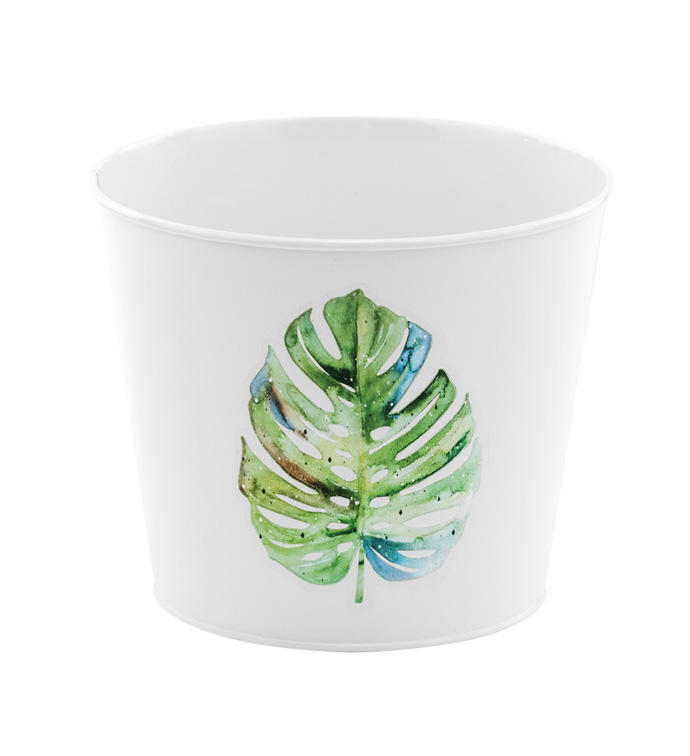 "6.5"" Tropical Leaf Pot Cover"
