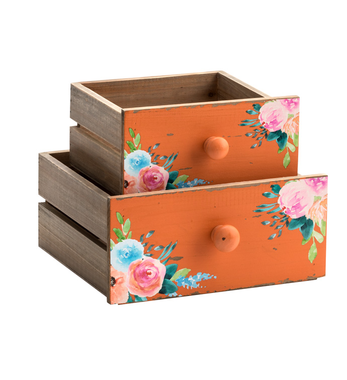 Coral Floral Drawer, Set of 2