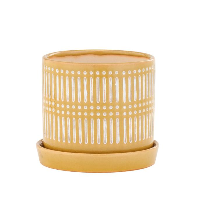 Large Yellow Linear Pot w/Saucer