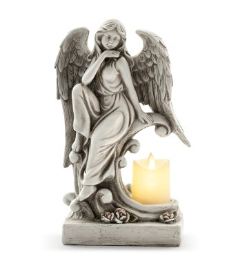 Angel With LED Candle Holder