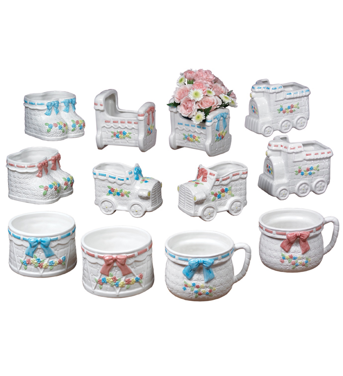 White Baby Planter, 12 Assorted