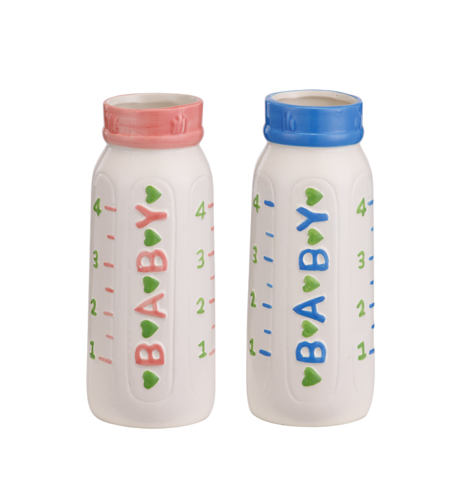 Small Baby Bottle Vase, 2 Assorted