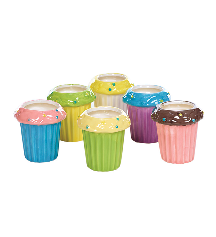 Cup Cake Vase, 6 Assorted