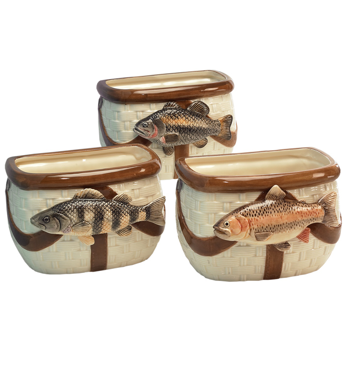 Fishing Basket Planter, 3 Assorted