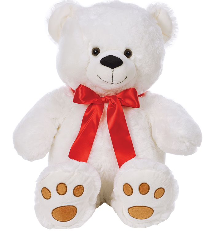 Large White Bear with Red Bow