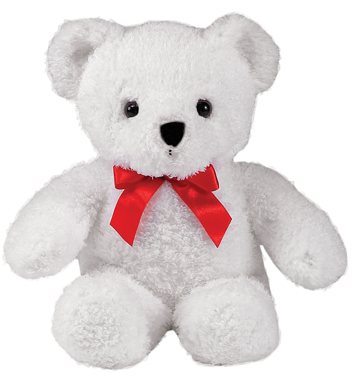 Small White Bear with Red Bow