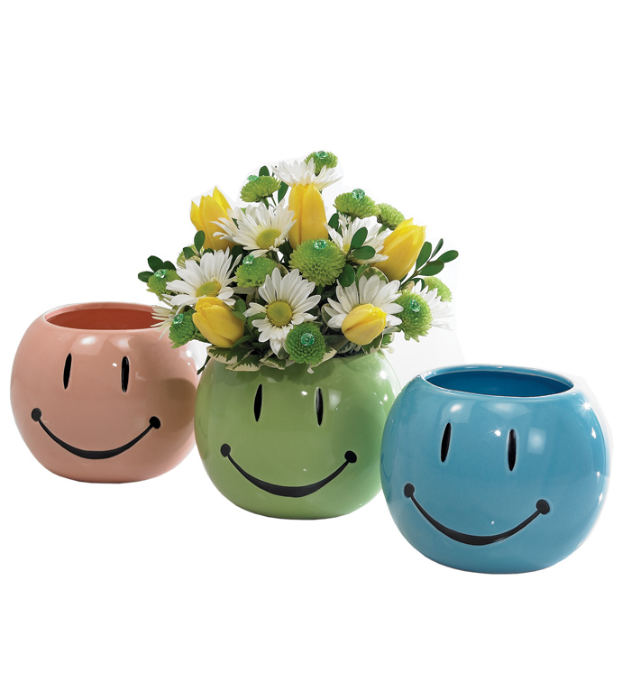 Smile Face Planter, 3 Assorted