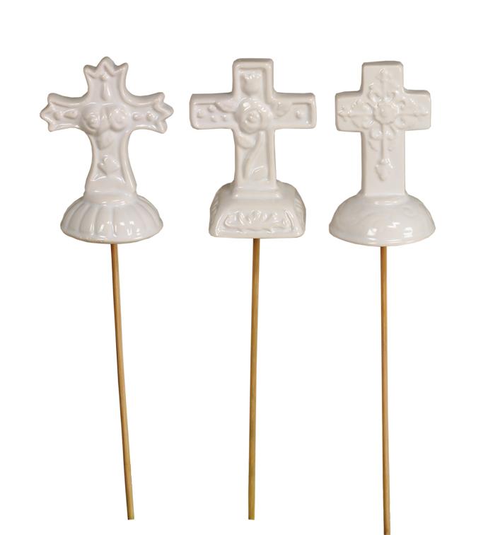 White Cross Pick, 3 Assorted