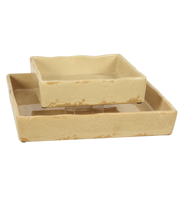 Cream Square Tray, Set of 2