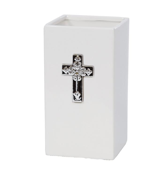 White Vase w/Cross - Case of 12