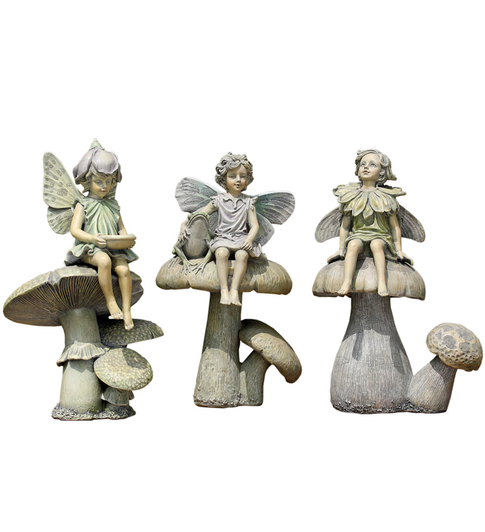 Fairy on Mushroom, 3 Assorted