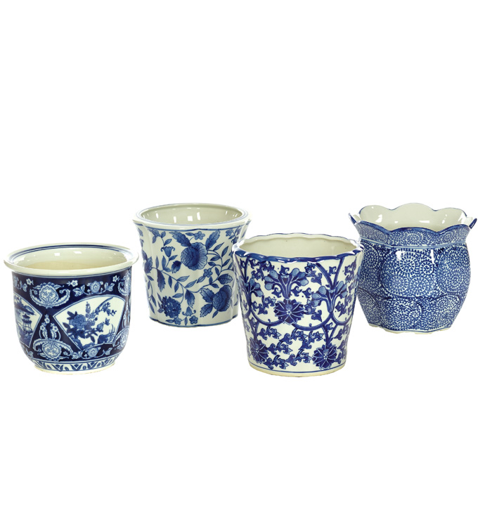Large Blue/White Planter,4 Assorted