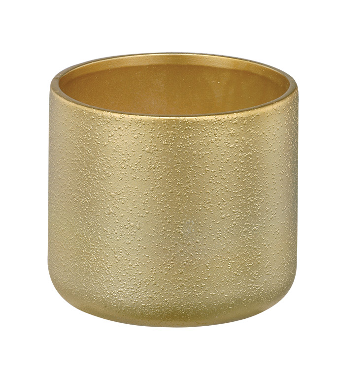 "4.5"" Gold Textured Cylinder Planter"
