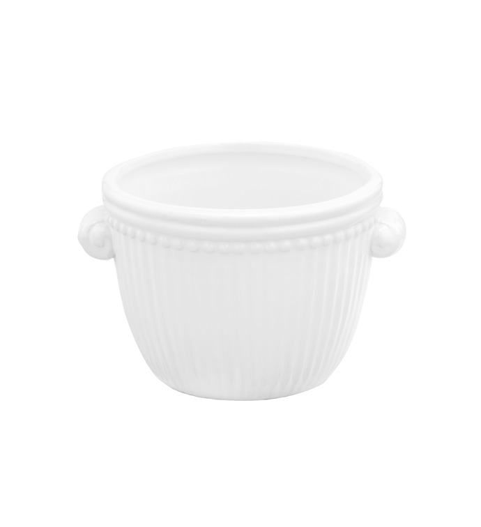 Small White Ribbed Planter