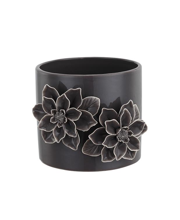 Dark Grey 3-D Flower Planter