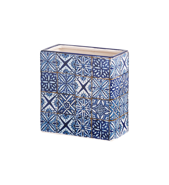 Blue Tile Rectangle Vase