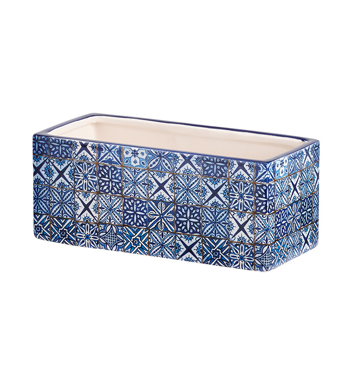 Blue Tile Rectangle Planter