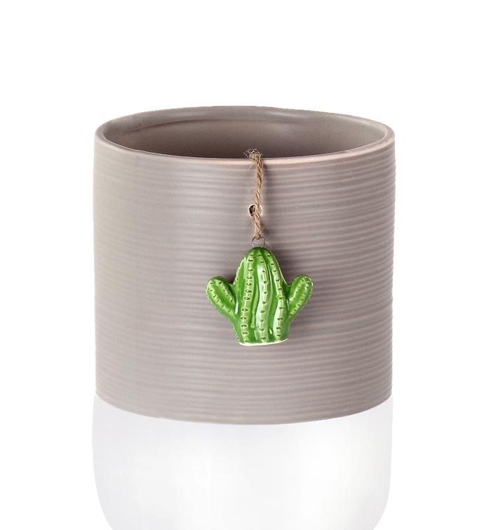Round Vase with Cactus Charm