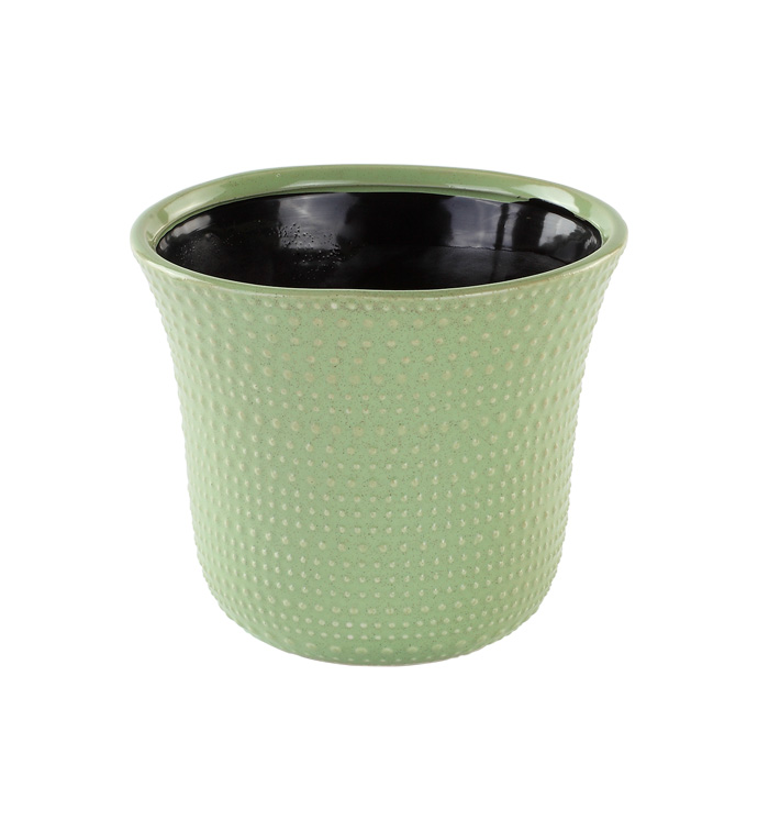 "6"" Green Hobnail Planter"