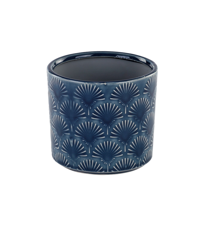 "4"" Blue Fan Embossed Planter"
