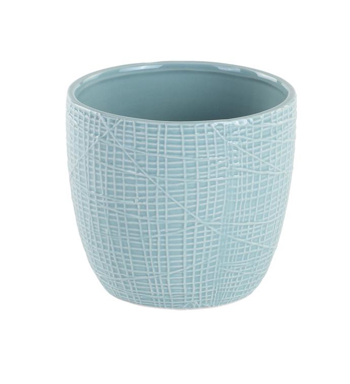 "4"" Blue Woven Texture Planter"