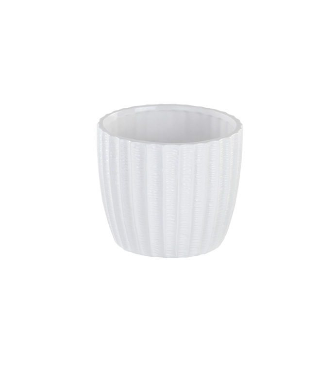 "4.5"" White Ribbed Planter"