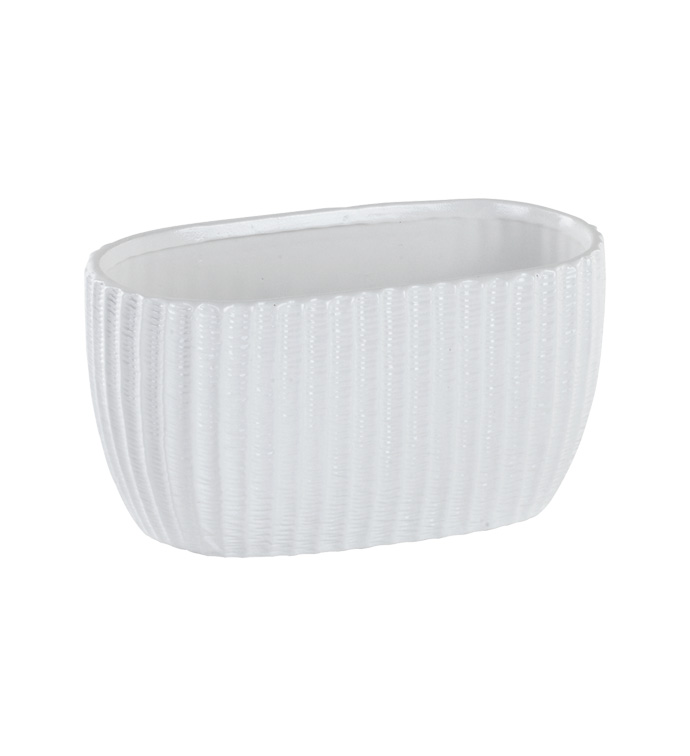 White Ribbed Oval Planter