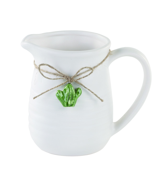 White Pitcher with Cactus Charm