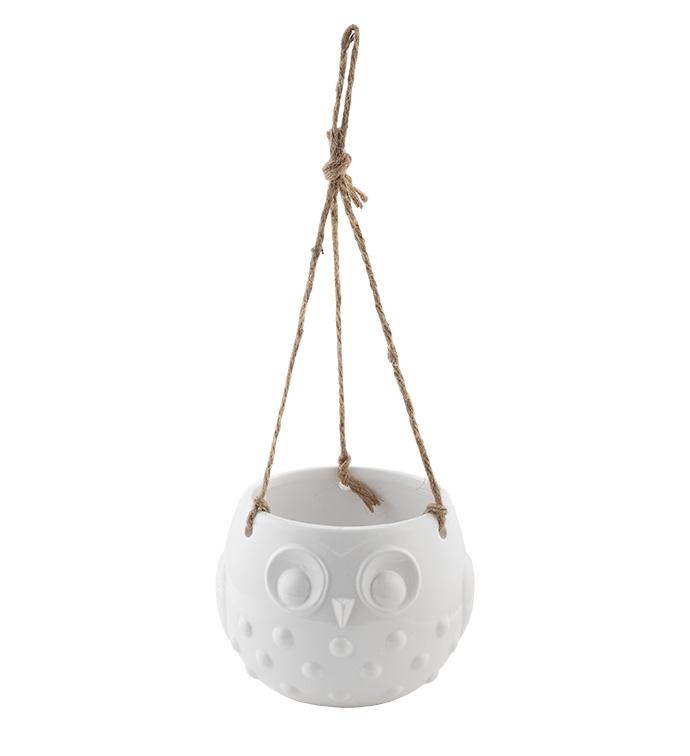 White Owl Hanging Planter