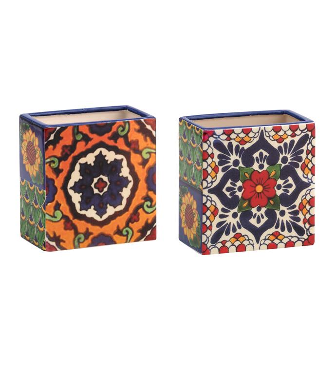 Spanish Tile Rectangle Vase