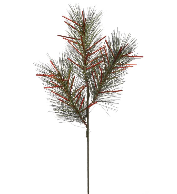Red Tinsel Pine Pick
