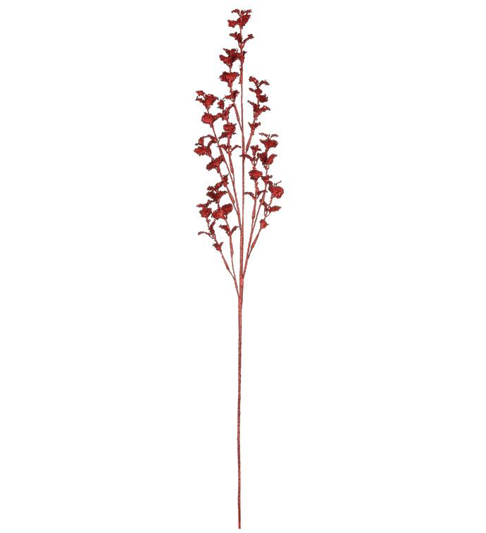 Red Sequin Glitter Leaves Spray