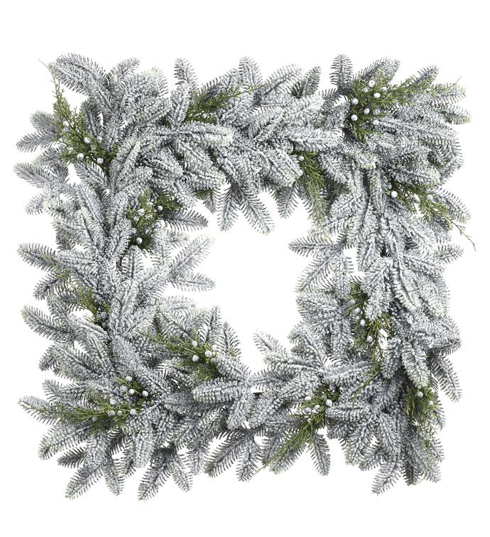 Snow Noble Fir Juniper Square Wreat