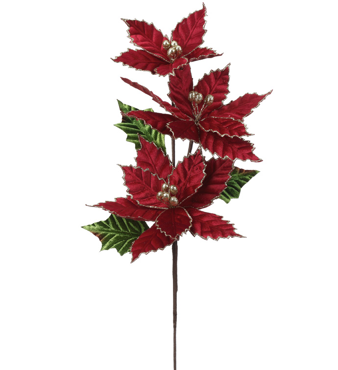 Velvet Poinsettia Spray