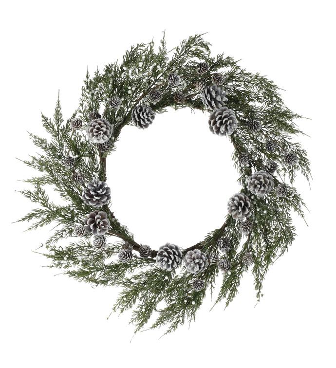 White Berry/Cone Wreath