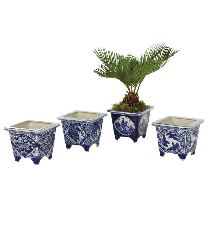 Blue & White Square Planter x4