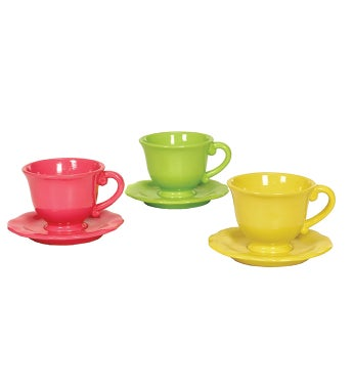 Flower Power Tea Cup, 3 Assorted