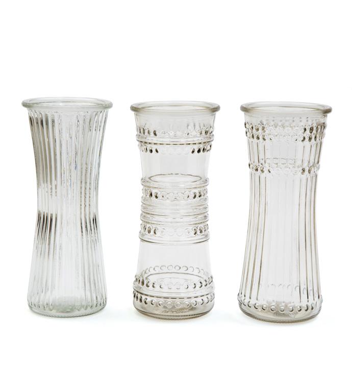 """8.5"""" Clear Vintage Rose Vase"""
