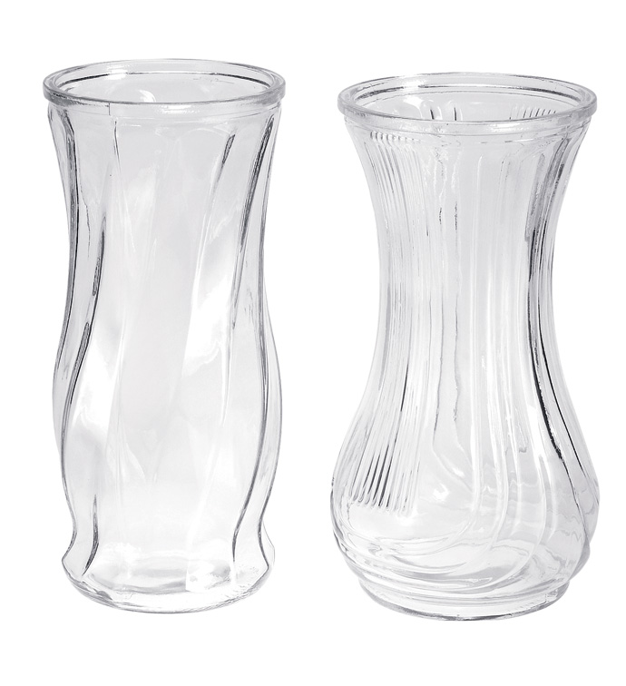Clear Glass Vase 2 Asst - Cs 12