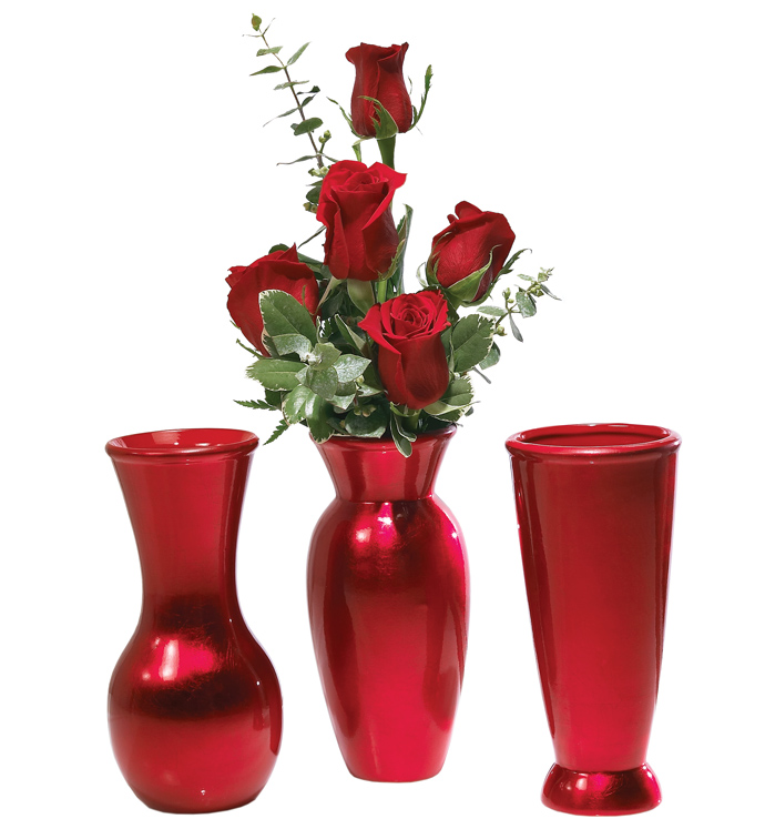 Red Bud Vase, 3 Assorted